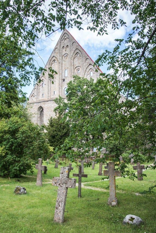 Graves at old cemetery of St. Brigitta convent in Pirita region, Tallinn royalty free stock photography