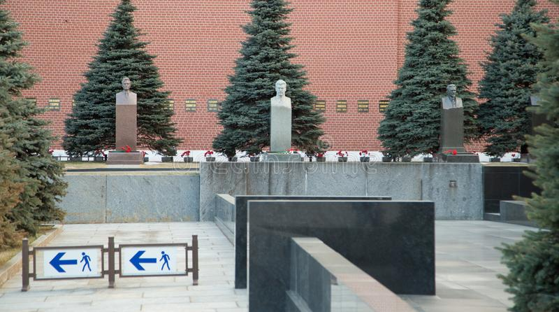 The graves of Soviet leaders. At the Kremlin wall stock photos