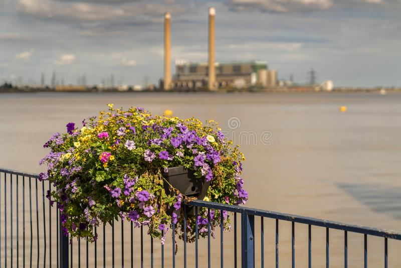 Gravesend, England, UK. The shore of the River Thames in Gravesend, Kent, England, UK - with a flower box and Tilbury Power Station royalty free stock images