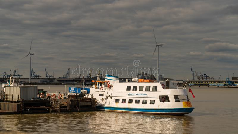 Gravesend, Kent, England, UK. September 23, 2017: View at the River Thames with the cruise ship Princess Pocahontas royalty free stock images
