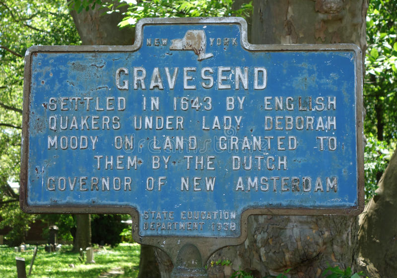Gravesend memorável assina dentro Brooklyn, NY fotos de stock royalty free