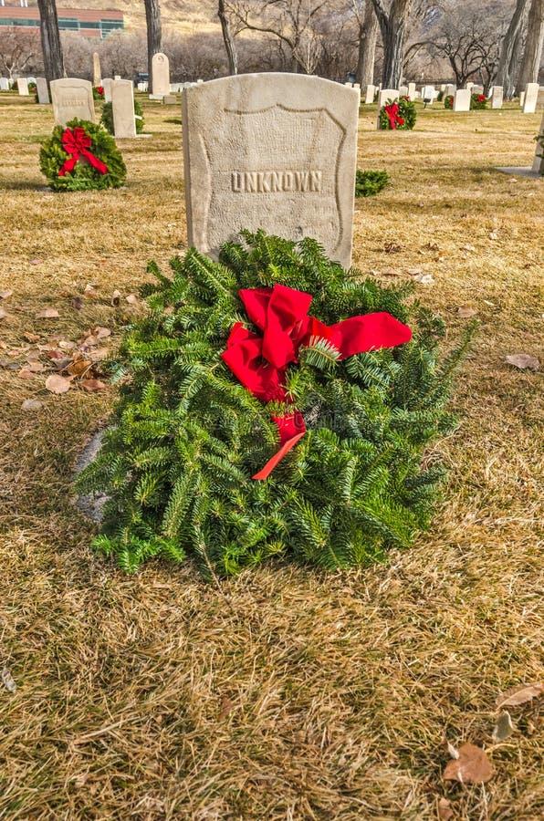 Gravesite van de onbekende Militair met Vakantiekroon stock foto