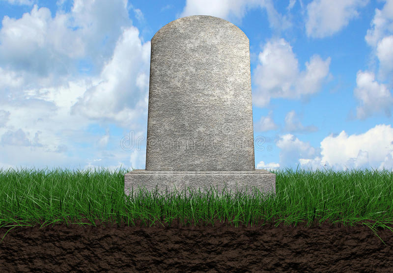Gravestone background. Gravestone on a grass field background 3d illustration stock illustration