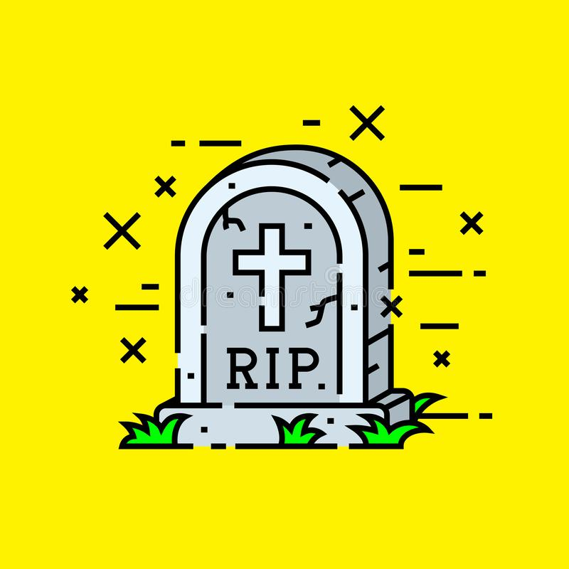 Gravestone cemetery icon vector illustration