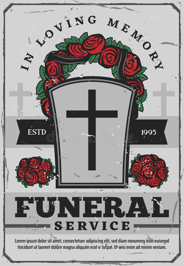 Funeral services poster with gravestone and wreath vector illustration