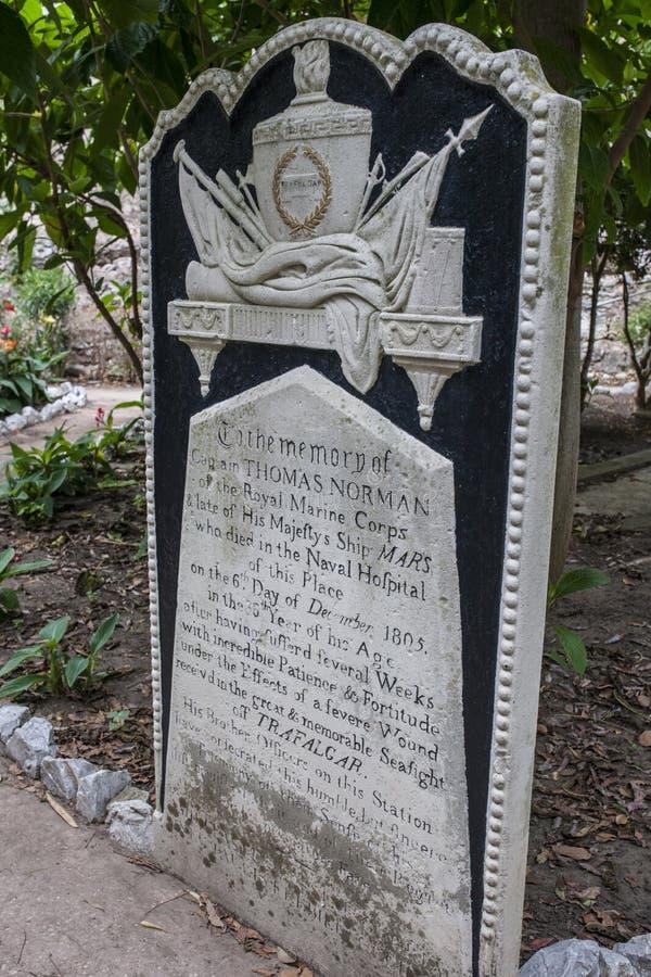 Gravestone del capitano Thomas Norman al cimitero di Trafalgar, Gibilterra, Regno Unito fotografia stock libera da diritti