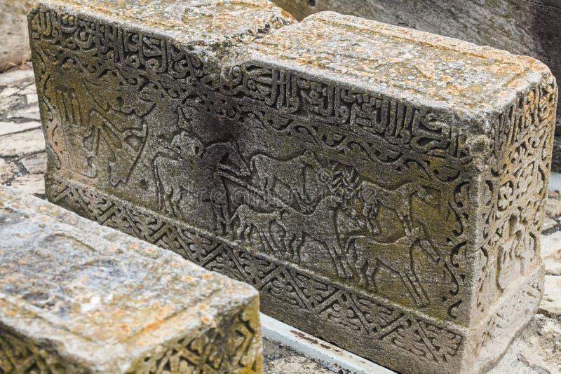 Gravestone Di Epoche Medioevali A Gobustan fotografie stock