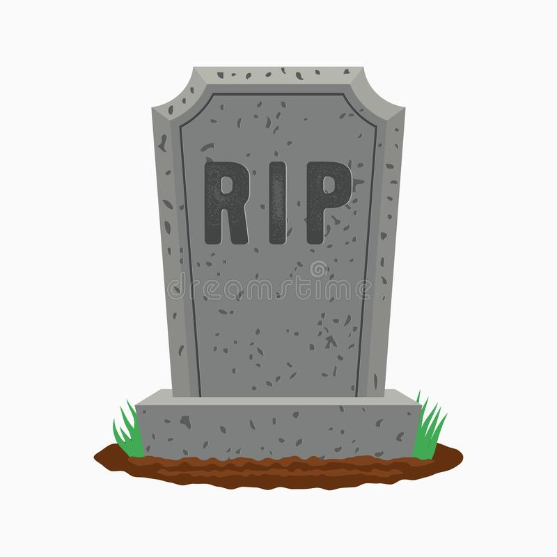 Gravestone with grass on ground. Old tombstone on grave with text RIP. Vector. vector illustration
