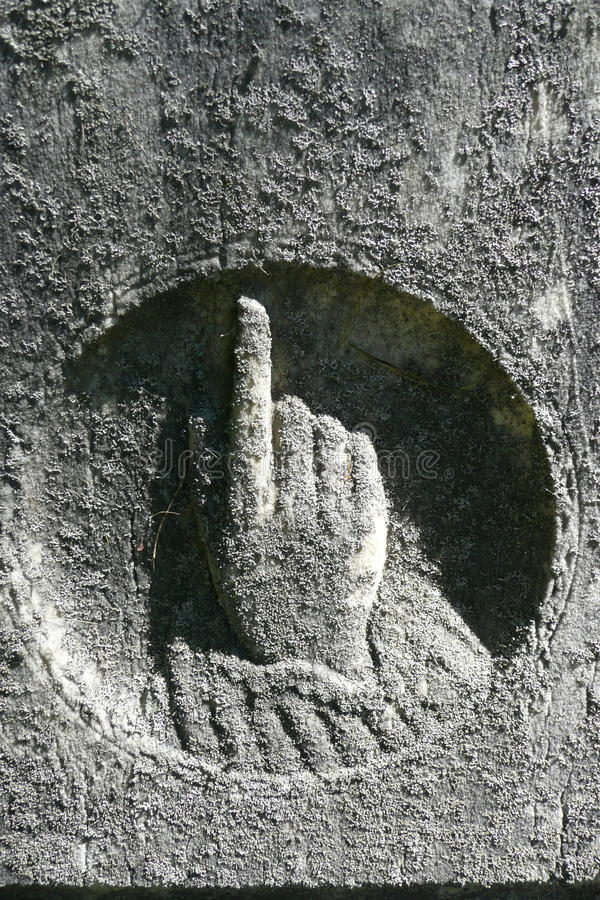 Gravestone: Hand Pointing Up To Heaven Stock Photo