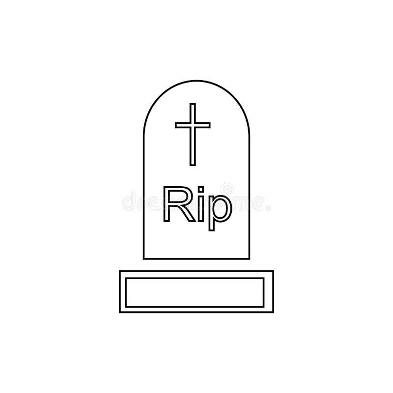 Gravestone ikona, konturu styl royalty ilustracja