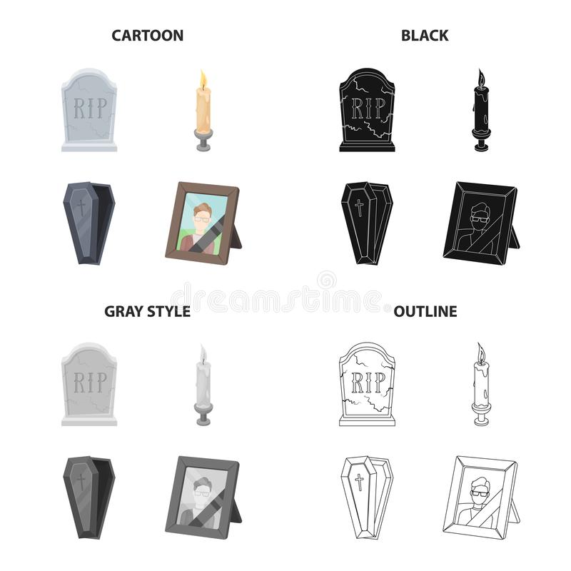 A gravestone with an inscription, a lighted candle, a coffin, a photograph of the deceased. Funeral ceremony set. Collection icons in cartoon black monochrome royalty free illustration