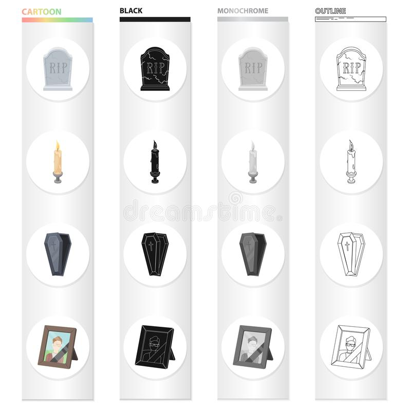 A gravestone with an inscription, a lighted candle, a coffin, a photograph of the deceased. Funeral ceremony set. Collection icons in cartoon black monochrome vector illustration