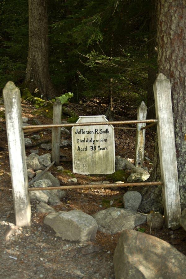 Gravestone of Jefferson Soapy Smith in gold rush cemetery, Skagway, Alaska stock image