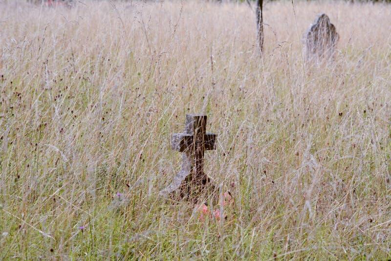 Gravestone krzyż zaniedbywający w długiej trawie obraz stock