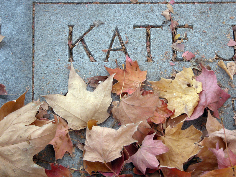 Gravestone and Leaves stock photo