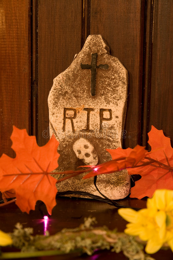 Download Gravestone with Leaves stock image. Image of flowers, frighten - 3463071