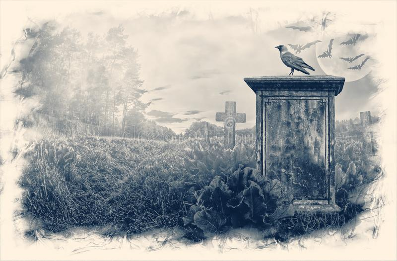 Gravestone in moonlight. Crow sitting on a gravestone in moonlight vector illustration