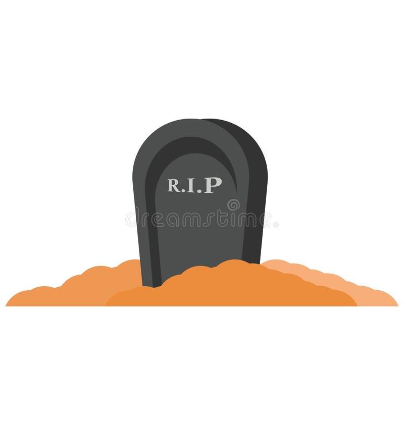 gravestone, nagrobku kolor Odizolowywał Wektorową ikonę która może być łatwo redaguje lub modyfikuje ilustracji