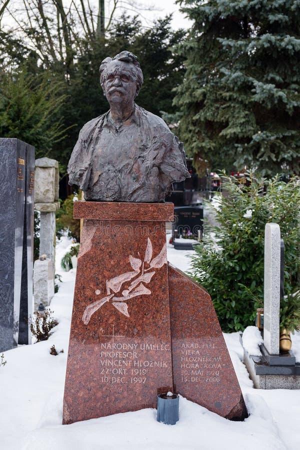 Gravestone of painter Vincent Hloznik arkivbild