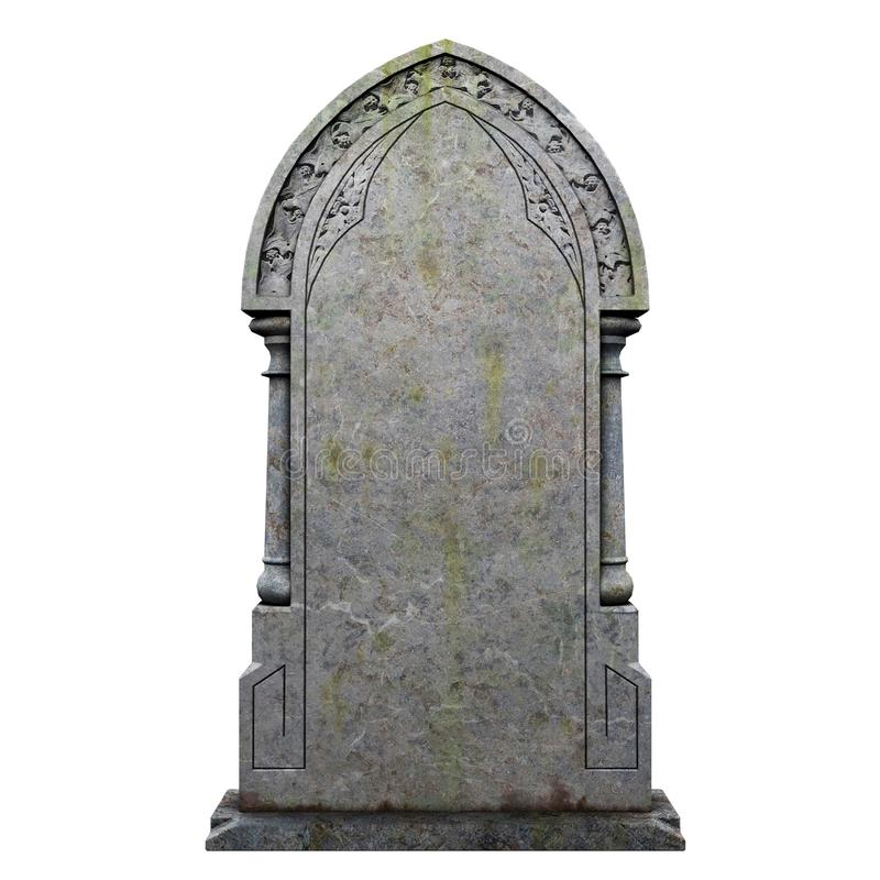 Gravestone on the white background. Gravestone tomb Unleashed 3D illustration on the white background stock illustration