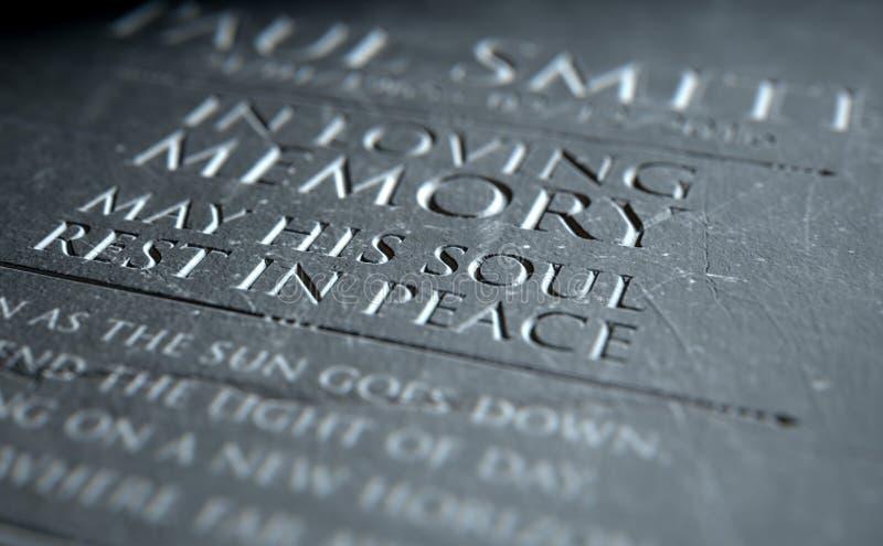 Gravestone W Kochającej pamięci ilustracja wektor
