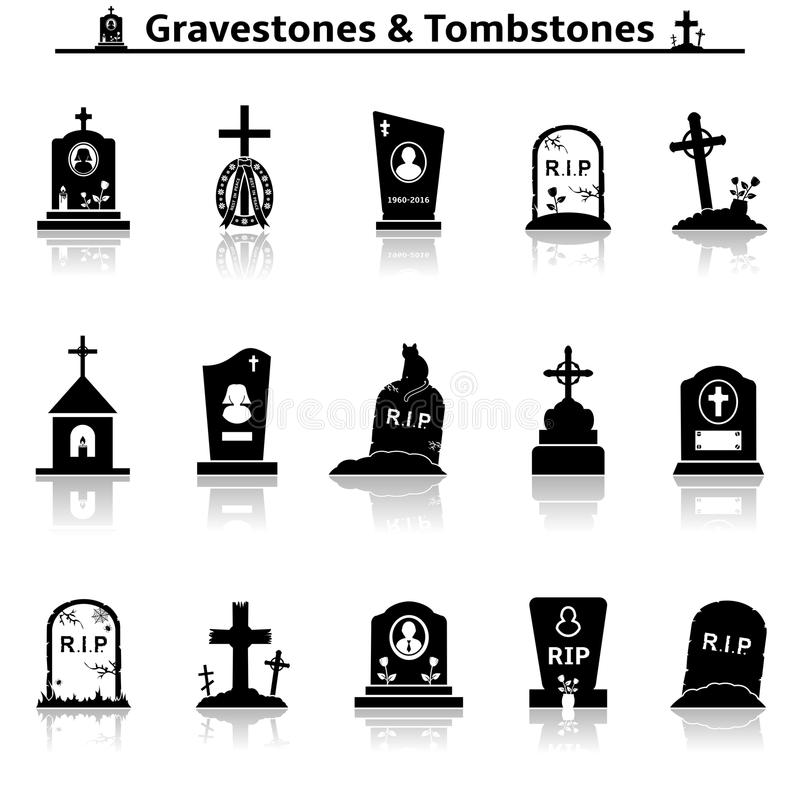 Free Gravestones And Tombstones Icons Royalty Free Stock Image - 86100306