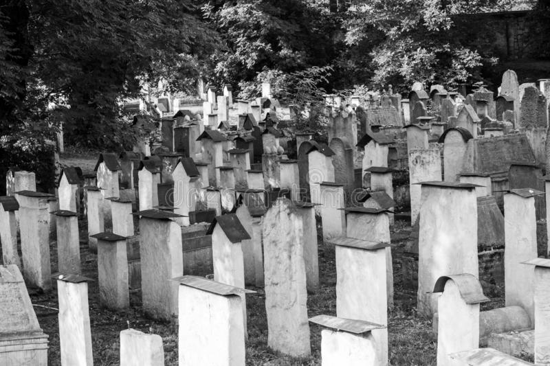 Gravestones at the small Remuh / Remah Cemetery on Szeroka Street in Kazimierz, the historic Jewish quarter of Krakow, Poland. Photographed in monochrome stock photos