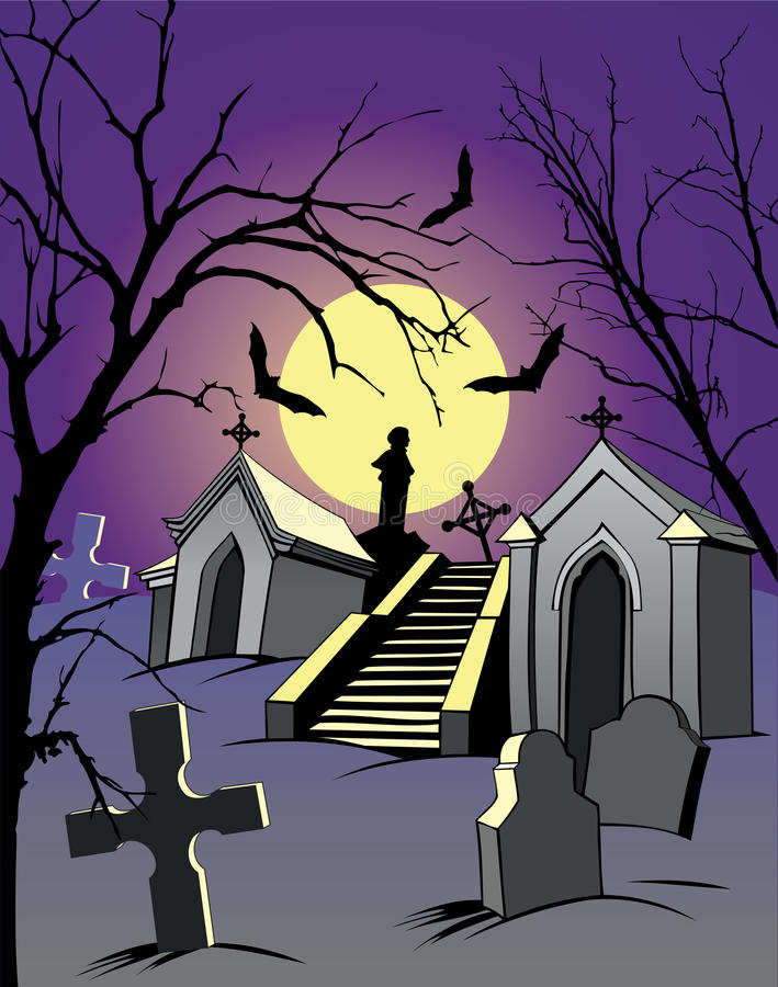 Graveyard. Night scene with a graveyard and the full moon stock illustration