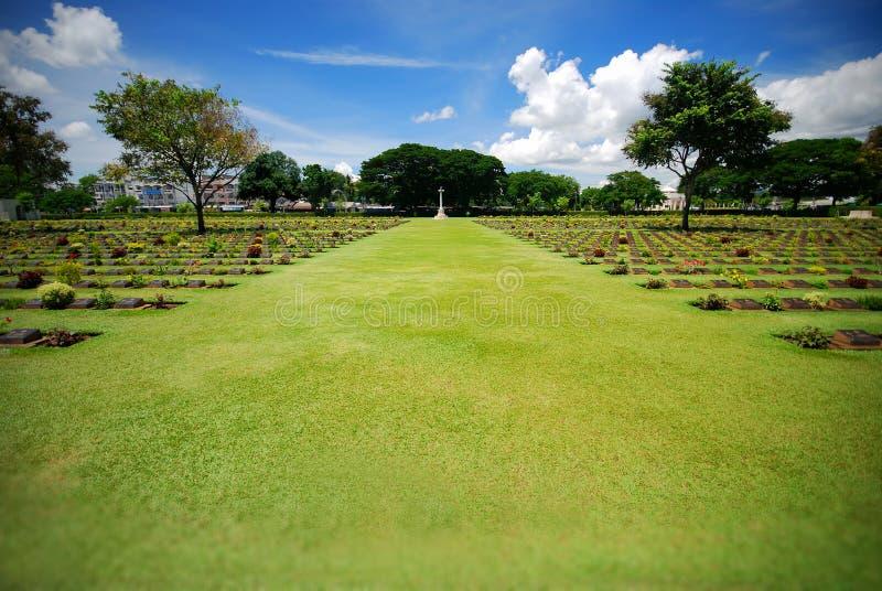 Graveyard. Thailand tourist attraction, Jeath War Cemetery, Kanchanaburi stock photography