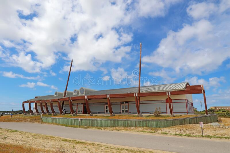 Graveyard of the Atlantic museum in Hatteras, North Carolina. HATTERAS, NORTH CAROLINA - APRIL 17 2019: Exterior of the building of the Graveyard of the Atlantic royalty free stock images