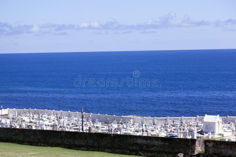 A graveyard at the beach in San Juan, Puerto Rico royalty free stock photography