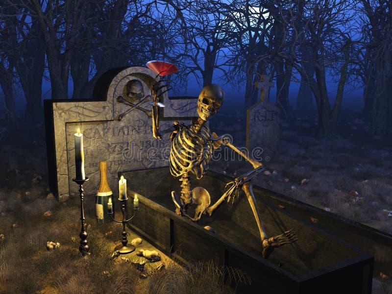 Graveyard Celebration. A fun loving party skeleton enjoys a blood martini in a graveyard - 3D render stock illustration