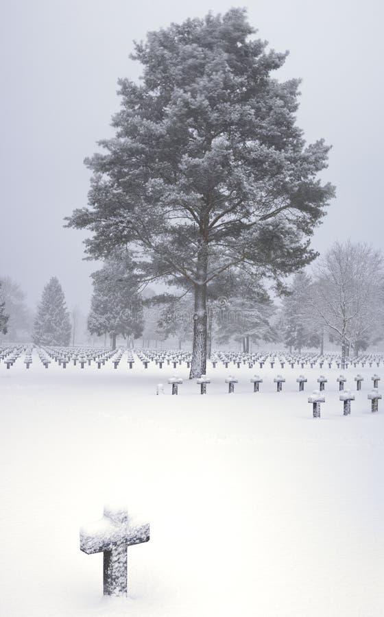 Graveyard cemetery cross tree in snow stock photo