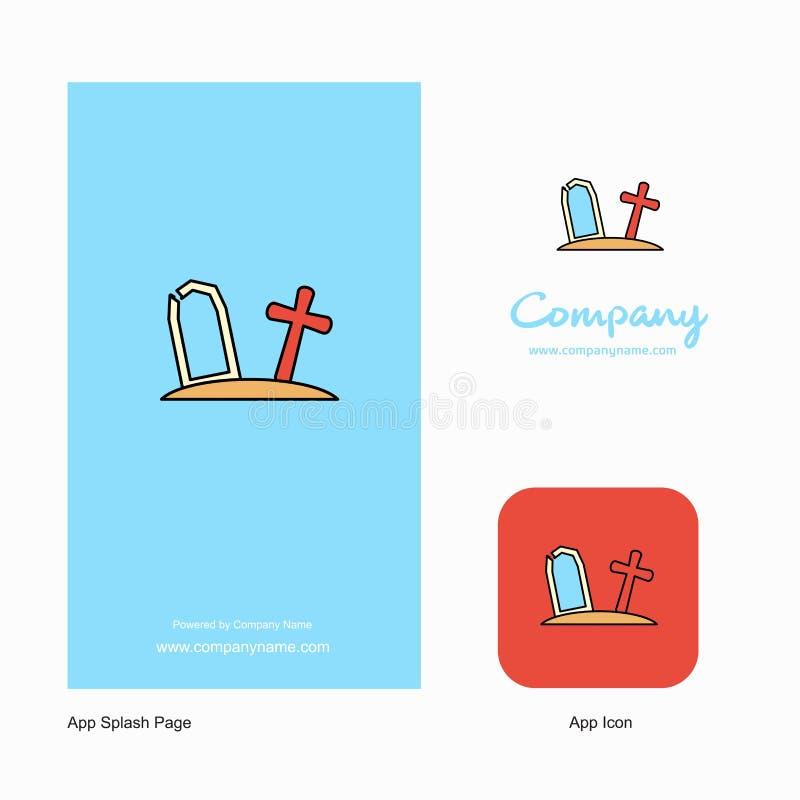 Graveyard Company Logo App Icon e progettazione della pagina della spruzzata Elementi creativi di progettazione del App di affari illustrazione di stock