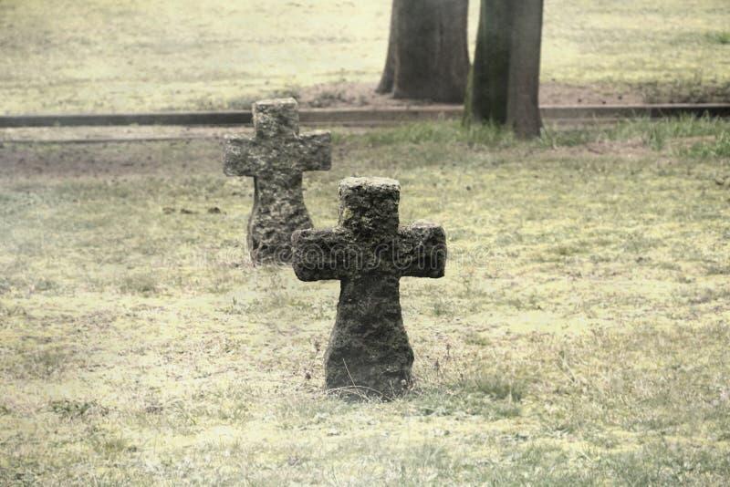 Graveyard con una croce di calcare di diversi secoli sul prato di prato secco atmosfera triste e spaventosa fotografia stock libera da diritti