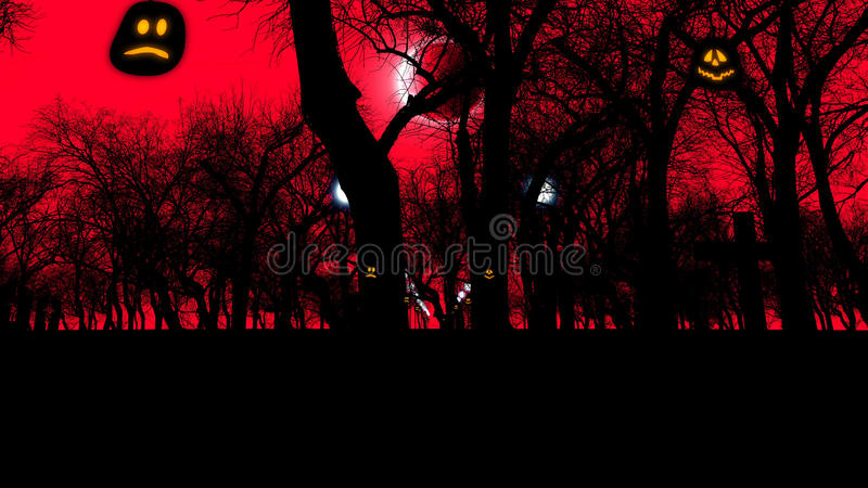 Graveyard with creepy trees on Halloween. 3D rendering of an ancient graveyard with two lit pumpkins and sinister trees on Halloween at moon eclipse. The royalty free illustration