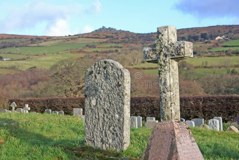 Graveyard on Dartmoor. Weathered gravestones in Widecombe, Dartmoor royalty free stock photos