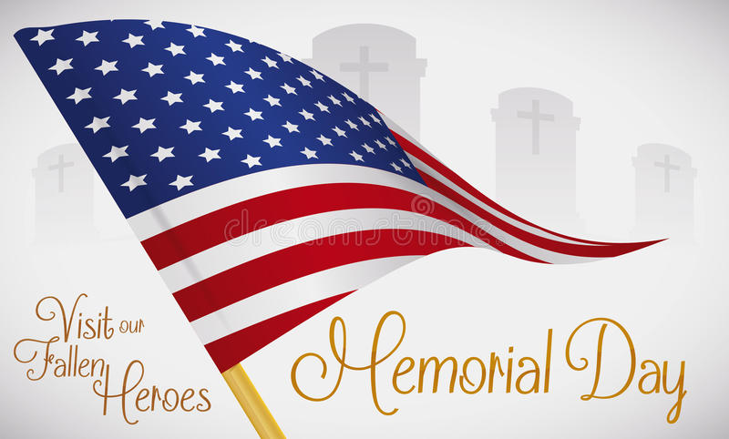Graveyard with Flag Memento to Honor Fallen Heroes in Memorial Day, Vector Illustration royalty free illustration