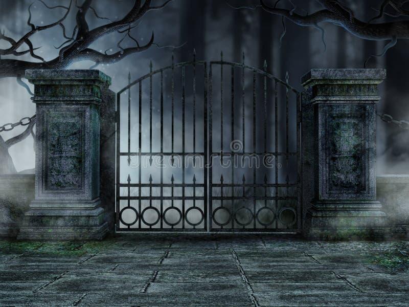 graveyard gate with trees stock illustration illustration
