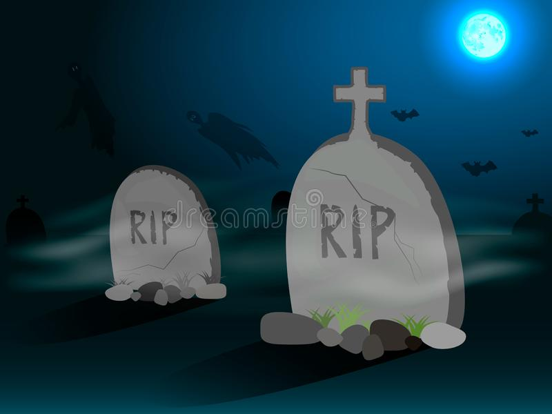 Graveyard with gravestones in the stock illustration