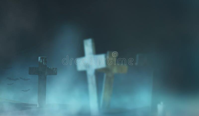Graveyard-gruseliger Hintergrund 3D-Illustration lizenzfreie stockbilder