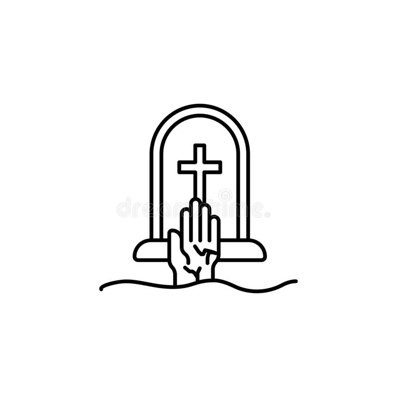 graveyard, hand, death outline icon. detailed set of death illustrations icons. can be used for web, logo, mobile app, UI, UX stock illustration