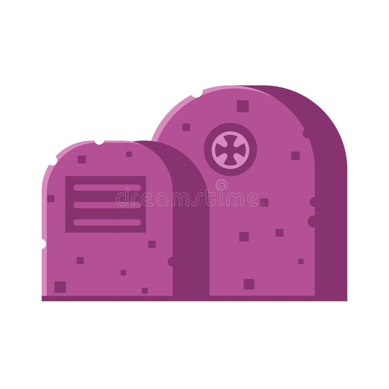 Gravestone Vector Icon. Graveyard icon with tombstones isolated on white background. Grave tomb vector illustration in flat design royalty free illustration