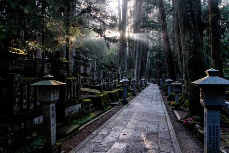 Graveyard of Mount Koya, Japan. Graveyard of Mount Koya (Koya San), near Kobo-Daishi's shrine, in the Kansai peninsula, Japan stock image