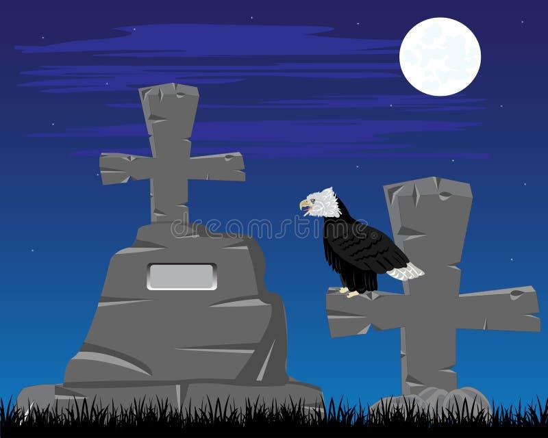 Graveyard in the night. Vector illustration graveyard with grave in the night stock illustration