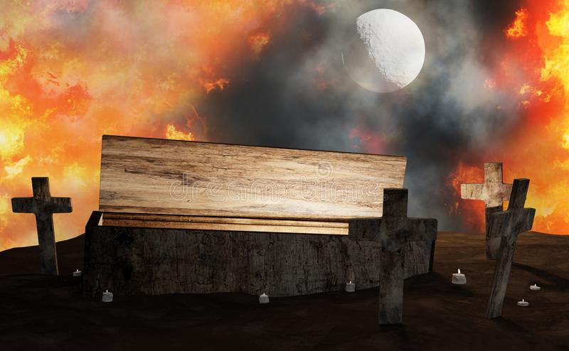 Graveyard open coffin with cross in fire and fog with moon 3d-illustration. Design vector illustration