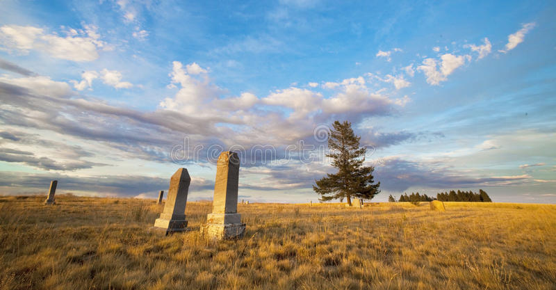 Graveyard with tombstones royalty free stock image