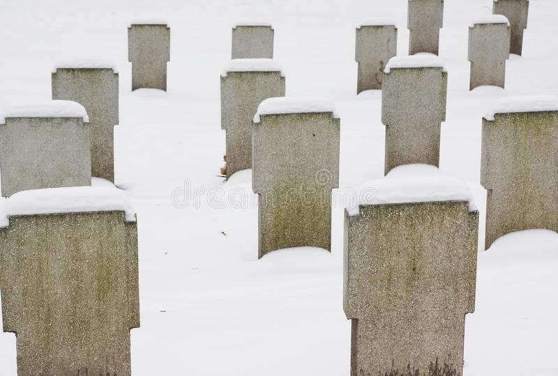 Graveyard in the winter royalty free stock photography