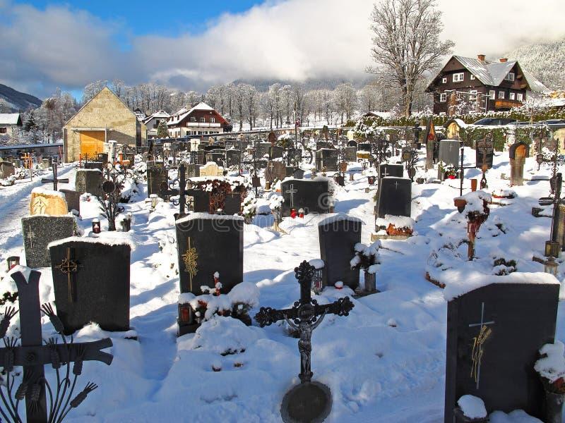 Graveyard in winter royalty free stock photo