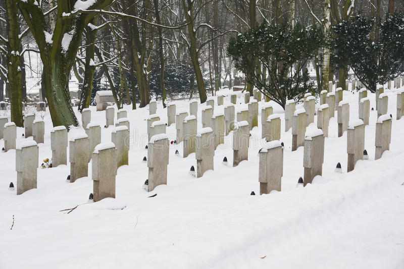 Graveyard in the winter royalty free stock images